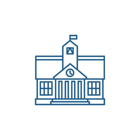 Icono de concepto de línea de educación superior. Sitio web de vector plano de educación superior de signo, símbolo de contorno, Ilustración.
