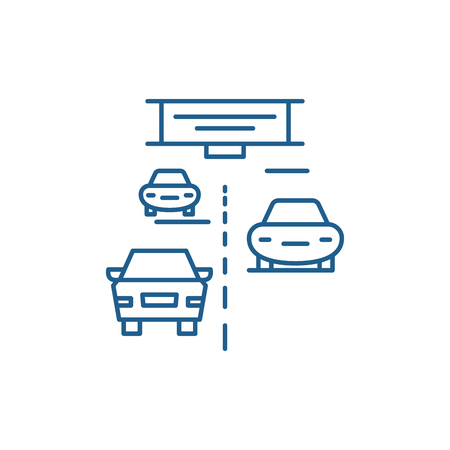 Highway line concept icon. Highway flat  vector website sign, outline symbol, illustration.  イラスト・ベクター素材