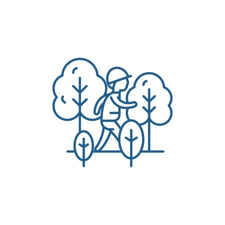 Hiking line concept icon. Hiking flat  vector website sign, outline symbol, illustration.