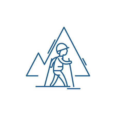 Hiking sign line concept icon. Hiking sign flat  vector website sign, outline symbol, illustration. 向量圖像