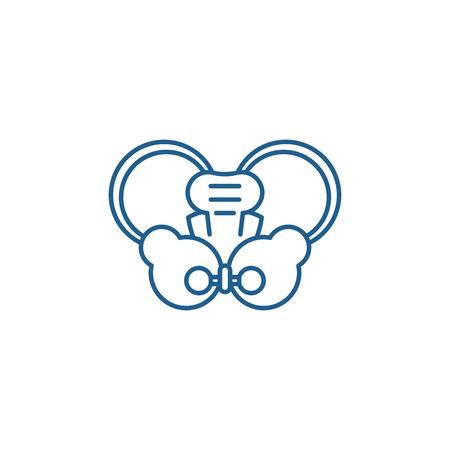 Hip joint line concept icon. Hip joint flat  vector website sign, outline symbol, illustration. Illustration