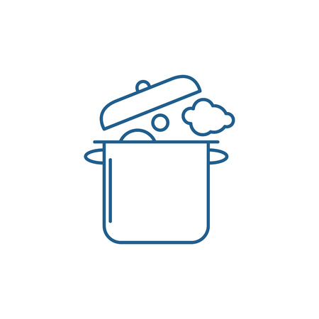 Home cooking line concept icon. Home cooking flat  vector website sign, outline symbol, illustration.
