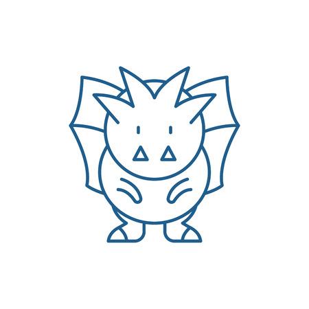 Horror line concept icon. Horror flat  vector website sign, outline symbol, illustration. 스톡 콘텐츠 - 119908349