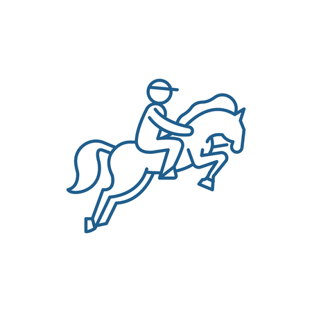 Horse racing line concept icon. Horse racing flat  vector website sign, outline symbol, illustration.