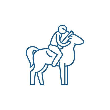 Horseback riding line concept icon. Horseback riding flat  vector website sign, outline symbol, illustration. Иллюстрация