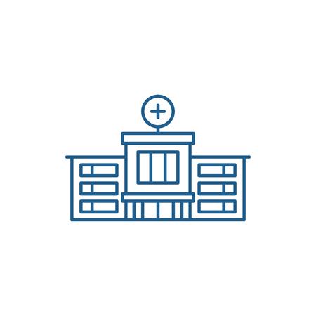 Hospital line concept icon. Hospital flat  vector website sign, outline symbol, illustration. Иллюстрация