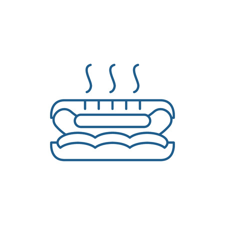 Hot dog line concept icon. Hot dog flat  vector website sign, outline symbol, illustration. 일러스트