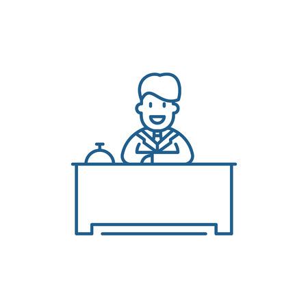 Hotel reception line concept icon. Hotel reception flat  vector website sign, outline symbol, illustration.