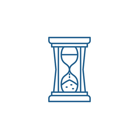 Hourglass sign line concept icon. Hourglass sign flat  vector website sign, outline symbol, illustration.