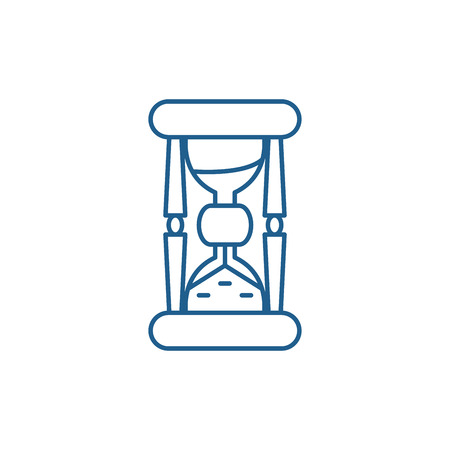 Hourglass time line concept icon. Hourglass time flat  vector website sign, outline symbol, illustration. Çizim
