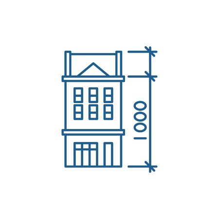 House characteristics line concept icon. House characteristics flat  vector website sign, outline symbol, illustration.
