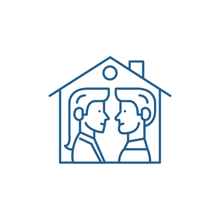 House for two line concept icon. House for two flat  vector website sign, outline symbol, illustration. Ilustração
