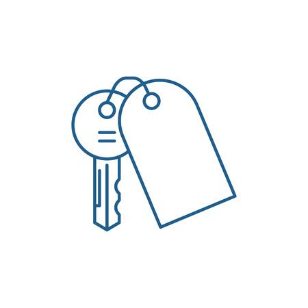 House keys line concept icon. House keys flat  vector website sign, outline symbol, illustration. Illusztráció