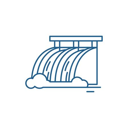 Icona del concetto di linea di centrale idroelettrica. Centrale idroelettrica vettore piatto sito web segno, simbolo di contorno, illustrazione. Vettoriali