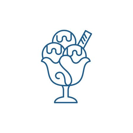 Ice cream line concept icon. Ice cream flat  vector website sign, outline symbol, illustration.