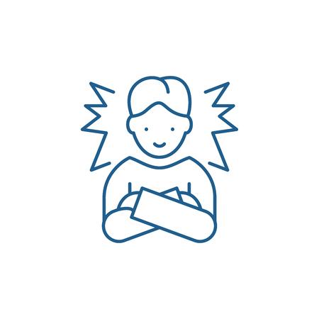 Icône de concept de ligne d'employé idéal. Signe de site Web de vecteur plat employé idéal, symbole du contour, illustration. Vecteurs
