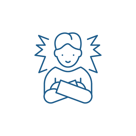 Ideal employee line concept icon. Ideal employee flat vector website sign, outline symbol, illustration.
