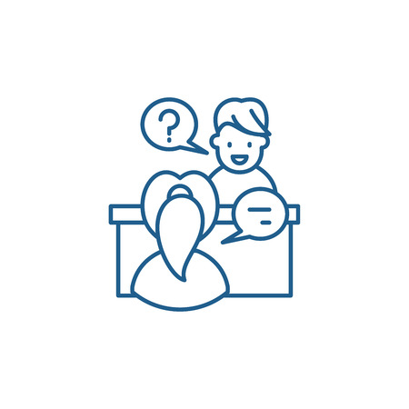 In depth interview line concept icon. In depth interview flat  vector website sign, outline symbol, illustration. Banco de Imagens - 119908456