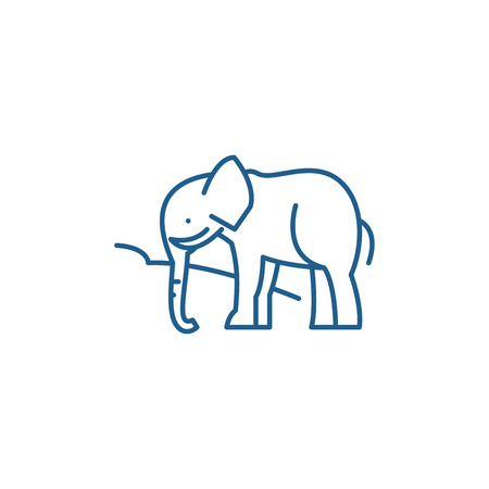 Indian elephant line concept icon. Indian elephant flat  vector website sign, outline symbol, illustration. Illustration