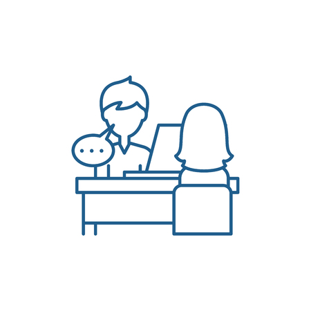 Icône de concept de ligne de consultation individuelle. Signe de site Web de vecteur plat de consultation individuelle, symbole de contour, illustration. Vecteurs