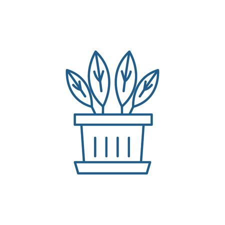 Indoor plant line concept icon. Indoor plant flat  vector website sign, outline symbol, illustration.