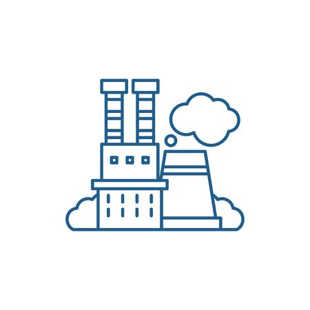 Industrial complex line concept icon. Industrial complex flat  vector website sign, outline symbol, illustration.