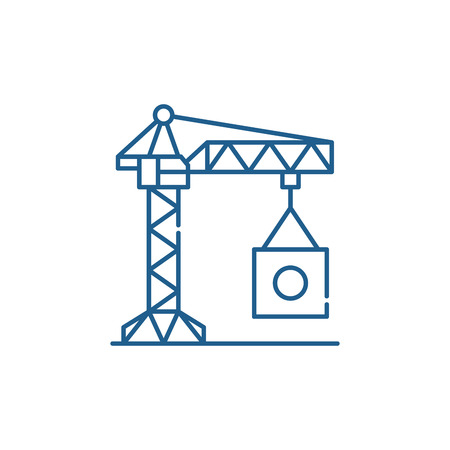 INDUSTRIAL CRANE line concept icon. INDUSTRIAL CRANE flat  vector website sign, outline symbol, illustration.