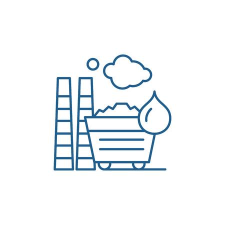 Industrial pollution line concept icon. Industrial pollution flat  vector website sign, outline symbol, illustration.
