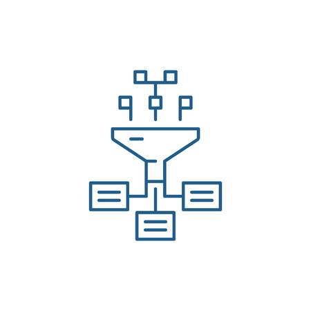 Information processes line concept icon. Information processes flat  vector website sign, outline symbol, illustration.