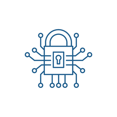 Information security line concept icon. Information security flat  vector website sign, outline symbol, illustration.