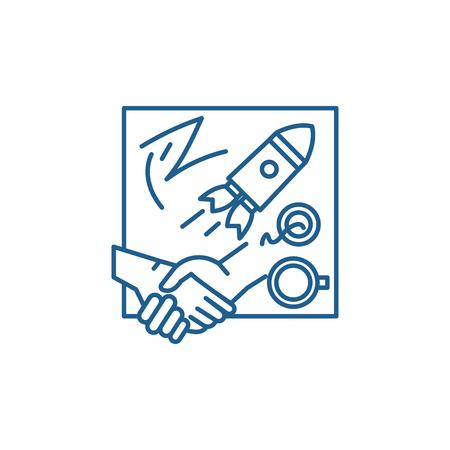 Innovative solutions line concept icon. Innovative solutions flat  vector website sign, outline symbol, illustration. Illusztráció