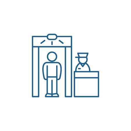 Inspection line concept icon. Inspection flat  vector website sign, outline symbol, illustration. Illustration