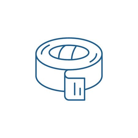 Icône de concept de ligne de ruban isolant. Signe de site Web de vecteur plat de bande isolante, symbole de contour, illustration.