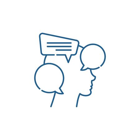Symbol für das Konzept des internen Dialogs. Interner Dialog flaches Vektor-Website-Zeichen, Umrisssymbol, Illustration. Vektorgrafik