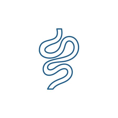 Intestines line concept icon. Intestines flat  vector website sign, outline symbol, illustration.
