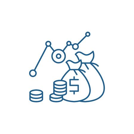 Investment profit line concept icon. Investment profit flat  vector website sign, outline symbol, illustration.