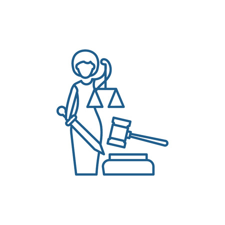 Justice line concept icon. Justice flat  vector website sign, outline symbol, illustration. Ilustrace