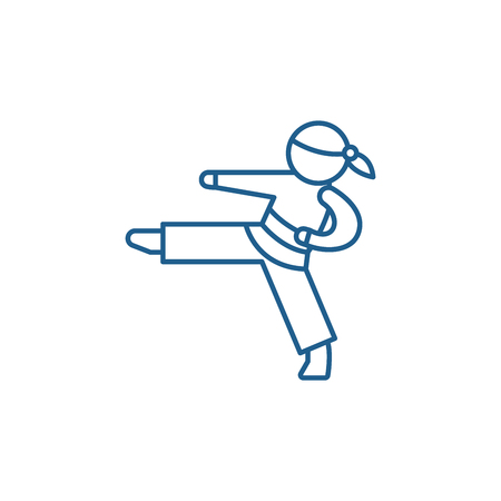 Karate line concept icon. Karate flat  vector website sign, outline symbol, illustration. 向量圖像