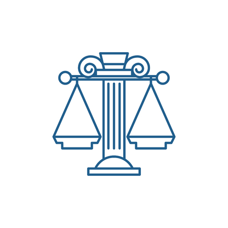 Judicial system line concept icon. Judicial system flat  vector website sign, outline symbol, illustration. Ilustração