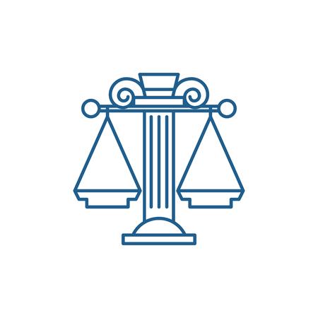 Judicial system line concept icon. Judicial system flat  vector website sign, outline symbol, illustration. Illustration