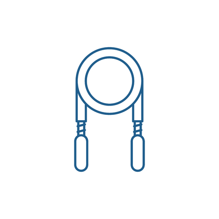 Jump rope line concept icon. Jump rope flat  vector website sign, outline symbol, illustration.