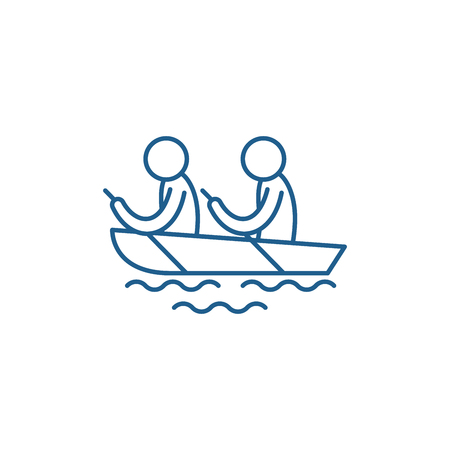 Kayaking line concept icon. Kayaking flat  vector website sign, outline symbol, illustration.