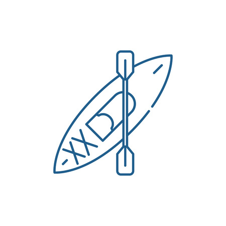 Kayaks line concept icon. Kayaks flat vector website sign, outline symbol, illustration.