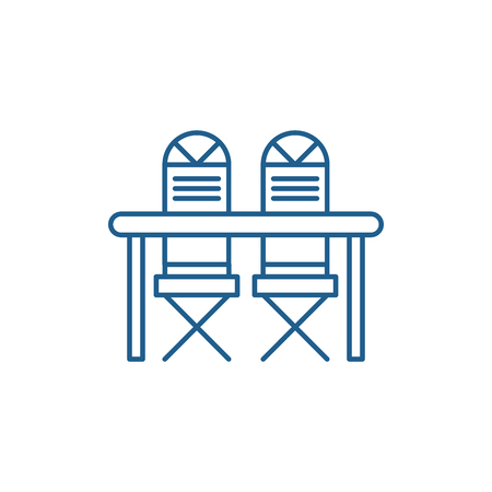 Kitchen table and chairs line concept icon. Kitchen table and chairs flat  vector website sign, outline symbol, illustration.