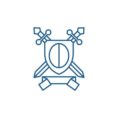Knightly award line concept icon. Knightly award flat  vector website sign, outline symbol, illustration. Иллюстрация
