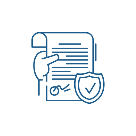 Legal document line concept icon. Legal document flat  vector website sign, outline symbol, illustration. Banco de Imagens - 119908918