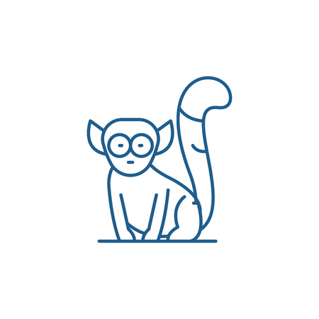 Lemur line concept icon. Lemur flat  vector website sign, outline symbol, illustration.
