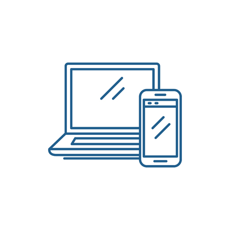 Laptop and smartphone line concept icon. Laptop and smartphone flat  vector website sign, outline symbol, illustration.