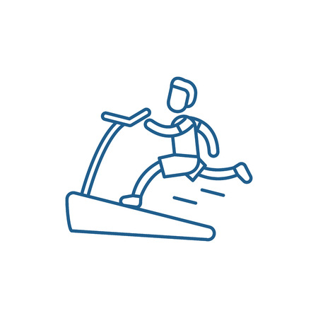 Jogging on the treadmill line concept icon. Jogging on the treadmill flat  vector website sign, outline symbol, illustration. Stock Illustratie