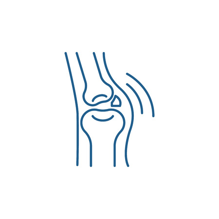 Joint disease line concept icon. Joint disease flat  vector website sign, outline symbol, illustration.